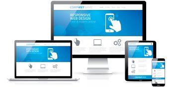Responsive web design concept in laptop tablet computer smartphone vector 36