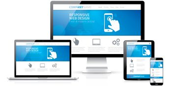 Responsive web design concept in laptop tablet computer smartphone vector 36